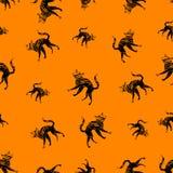 Halloween-Ikonen nahtlos von der Katze Vektor Stockfotografie