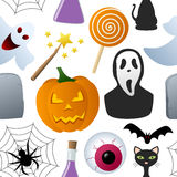 Halloween-Ikonen-nahtloses Muster Stockbilder