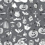 Halloween-Ikonen-nahtloses Muster Kritzelt flüchtiges Lizenzfreies Stockfoto