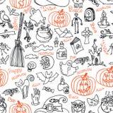 Halloween-Ikonen und nahtloses Muster des Textes Kritzelt flüchtiges Stockbild