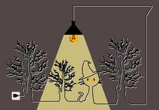 Halloween Il manifesto con un gatto sotto gli alberi e la lampada Immagine Stock Libera da Diritti