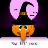 Halloween-illustratie met beeldverhaalpompoen, maan en knuppels Royalty-vrije Stock Afbeeldingen
