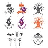 Halloween-illustratie met embleemelementen Stock Foto