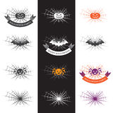 Halloween-illustratie met embleemelementen Royalty-vrije Stock Fotografie