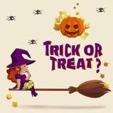 Halloween-illustratie met heks op bezem Royalty-vrije Stock Fotografie