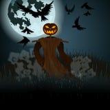 Halloween-illustratie met kwade vogelverschrikker, volle maan en kraaien Stock Afbeelding