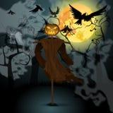 Halloween-illustratie met kwade vogelverschrikker, volle maan en kraaien Royalty-vrije Stock Afbeelding