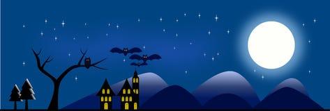 Halloween-illustratie met volle maan Stock Afbeelding