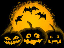 Halloween illustration. Three punpkins with bats in halloween night Stock Photo