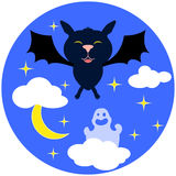 Halloween  illustration with bat. Cute cartoon bat flying in night sky Royalty Free Stock Photography