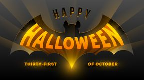 Halloween illustration. Bat silhouette with three-dimensional Halloween greeting. Stock Images
