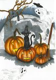 Halloween illustration with big pumpkins and bats Stock Images