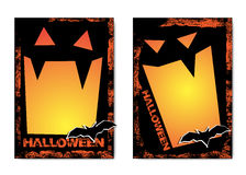 Halloween illustration with black bat on moon background. Royalty Free Stock Images