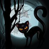Halloween illustration with black cat Royalty Free Stock Image