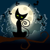 Halloween illustration with black cat Stock Photography