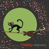 Halloween illustration with black cat Stock Images