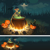 Halloween illustration with a bonfire, a skeleton, a Ghost, Pumpkins and a bats. Royalty Free Stock Photography