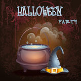Halloween illustration with a bowler hat and cap.  Stock Photography