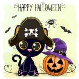 Halloween illustration of Cartoon black cat Stock Photos