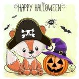 Halloween illustration of Cartoon Fox Stock Photos
