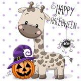 Halloween illustration of Cartoon giraffe Royalty Free Stock Images