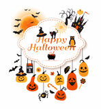 Halloween illustration with celebration symbols. Royalty Free Stock Images