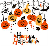 Halloween illustration of cheerful pumpkins. Royalty Free Stock Photography