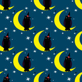 Halloween illustration with cute owl seating on the moon Stock Image