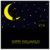 Halloween illustration with cute owl seating on the moon Royalty Free Stock Image