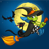 Halloween illustration with cute witch flying on her broom Royalty Free Stock Photo