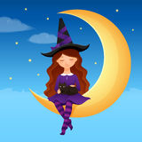 Halloween illustration of a cute witch girl Stock Photo