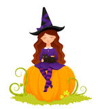 Halloween illustration of a cute witch girl Stock Photos