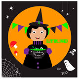 Halloween illustration with cute witch and witches brew stock illustration