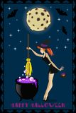 Halloween illustration of cute young witch with cauldron on full moon background with stars and bats. Halloween greeting card or i Stock Photos