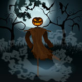 Halloween illustration with evil scarecrow, full Moon and bats Royalty Free Stock Photography