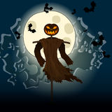 Halloween illustration with evil scarecrow, full Moon and bats Royalty Free Stock Image