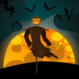 Halloween illustration with evil scarecrow, full Moon and bats Royalty Free Stock Photos