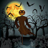 Halloween illustration with evil scarecrow, full Moon and bats Stock Images
