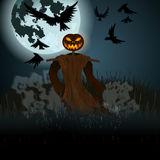 Halloween illustration with evil scarecrow, full Moon and crows Stock Image