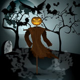 Halloween illustration with evil scarecrow, full Moon and crows Stock Photos