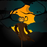 Halloween illustration with evil scarecrow, full Moon and crows Stock Photography