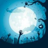 Halloween-Illustration - Friedhof Stockbild