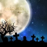Halloween illustration with full moon and cemetery on the night sky background. party flyer design Royalty Free Stock Photography