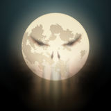 Halloween illustration of full Moon with clouds Royalty Free Stock Photography