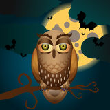 Halloween illustration with full Moon and owl Stock Photos