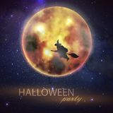 Halloween illustration with full moon and witch on the night sky background. party flyer design Stock Photos