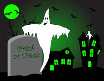 A halloween illustration with a ghost royalty free stock photo
