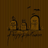 Halloween illustration with grave Stock Photo