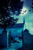Halloween illustration with graveyard Stock Photos