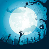 Halloween illustration - Graveyard royalty free illustration
